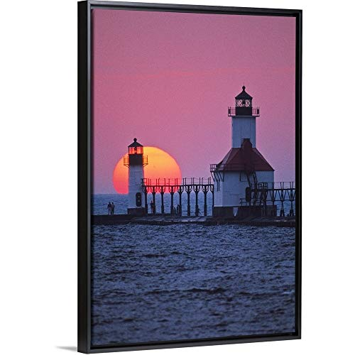 (Panoramic Images Floating Frame Premium Canvas with Black Frame Wall Art Print Entitled Lighthouse at Sunset, St. Joseph, Michigan 32