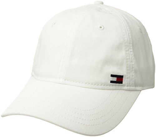 Tommy Hilfiger Men's Dad Hat Billy Corner Flag Cap, Classic White, O/S