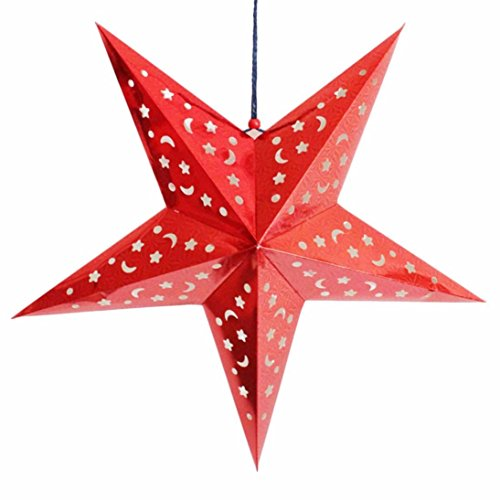 Iuhan Christmas Star String Hanging Christmas Party Tree Decoration Ornament (Red) (Christmas Party Ideas For Teens)