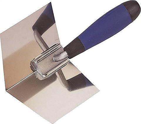 Edward Tools Drywall Corner Tool - Flexes for perfect 90 degree corner when mudding drywall - High grade stainless steel sheetrock corner trowel - Ergonomic (Drywall Tool Taping)