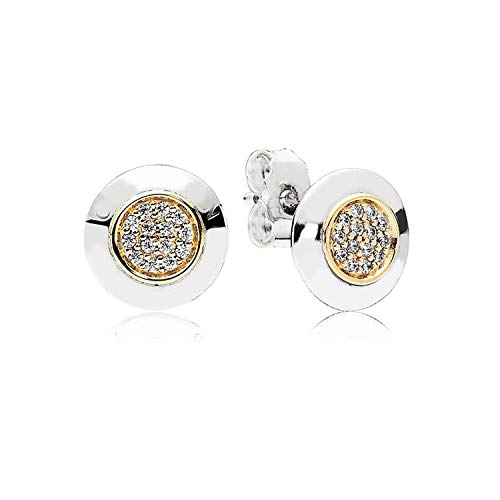 925 Sterling Silver Earring Golden Two-tone Signature Studs Earrings ()