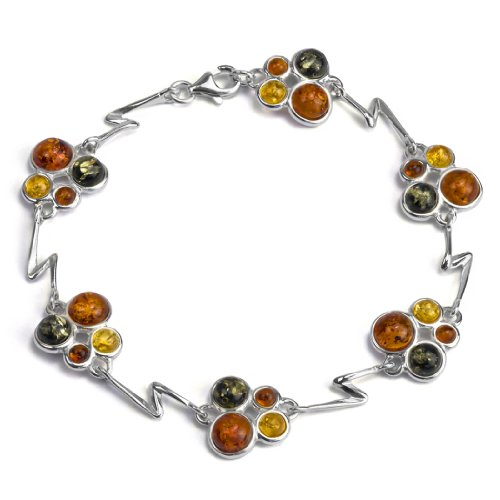 Sterling Silver Multicolor Amber Round Beads Bracelet Length 7.5 Inches (Real Amber Bug Insect Bracelet)