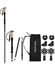 NACATIN Trekking Poles, Hiking/Walking Poles Aluminum Walking Sticks,2 Pack With Antishock Quick Lock System, Telescopic, Collapsible, Ultralight for Walking, Trekking, Hiking,Climbing,Backpacking