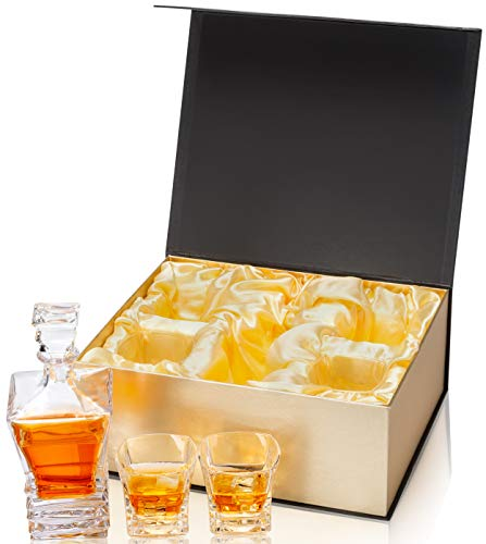 KANARS Crystal Whiskey Decanter And Glass Set With Luxury Gift Box - The Original Liquor Decanter Set For Scotch, Bourbon, Irish Whisky And Godmother Cocktail, 5-Piece by KANARS (Image #3)
