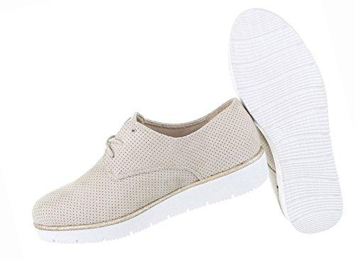 Damen Schuhe Halbschuhe Business Schnürer Schwarz Beige