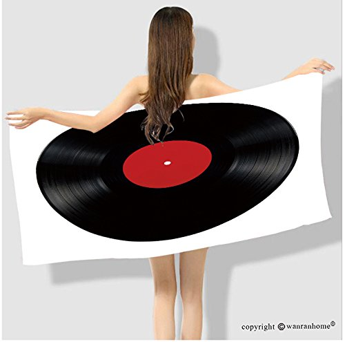 VROSELV Cotton Microfiber Bathroom  Bath Towel-Black vinyl lp album disc; isolated long play disk with blank label in red Custom pattern of househol Custom pattern of household products(63