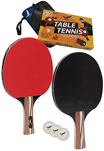 Rivon Table Tennis Paddle - Ping Pong Racket Set - 2 Paddles with 3 Balls and Travel Case - ITTF Approved Rubber - Endorsed by Celebrity Player