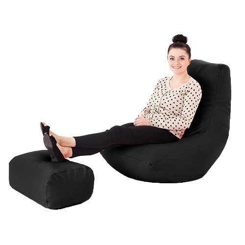 Black Faux Leather Gaming Highback Bean Bag Lounger Chair With Footstool