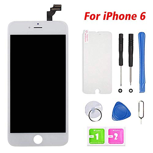 (Repair-Screen Screen Replacement for iPhone 6 LCD Display & Touch Screen Digitizer Frame Assembly Set with Free Repair Tool and Screen Protector(4.7 inch White))