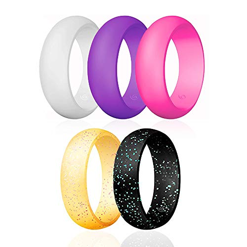 Silicone Wedding Ring for Men, Mens Rubber Silicone Wedding Bands - 5 Pack / 2 Pack (White, Purple, Rose Red, Yellow with Pink Glitters, Black with Turquoise Glitters, 6mm Wide, 4.5-5(15.7mm))