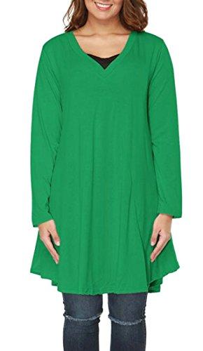 Vestito Modo Manicotto Superiore Cromoncent Breve Più Dell'oscillazione Lungo V Verde Collo Donne Di Formato Irregolare TTO0qvEx