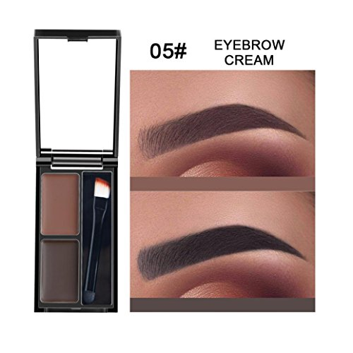 Fheaven (TM) 2 Color Eyebrow Powder Eye Brow Palette Cosmetic Shading Kit With Brush Mirror - Party Smoky Makeup (E)
