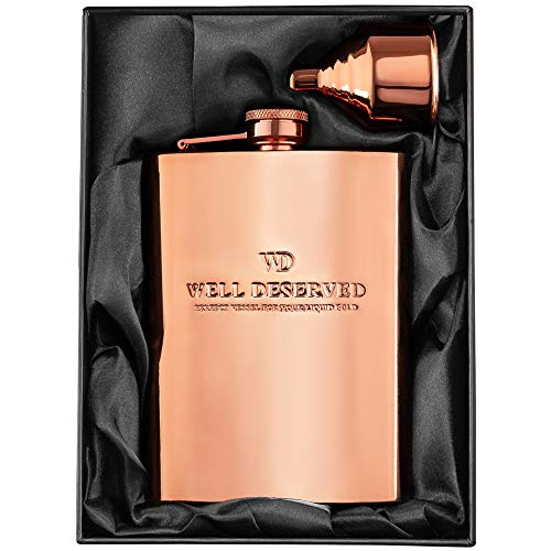 8oz Copper Flask and Funnel Set. Copper 7th Anniversary Gifts For Men/Women, For Him or Her. Gift Bag Ideas. Rose Gold Flask in a Black Satin Gift Box. Copper Alcohol Drinking Flask. By COPPER GEMZ -
