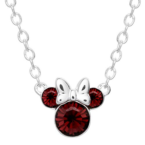(Disney Minnie Mouse Silver Plated Crystal February Birthstone Necklace 16