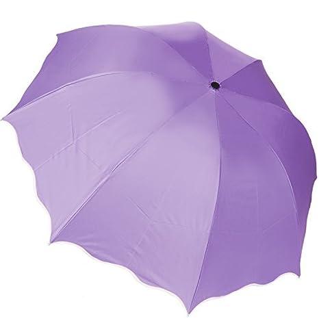 Aerusi Manual abierto 3 Fold paraguas Magic flores anti-UV Scallop Edge sombrilla Morado morado