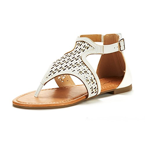(DREAM PAIRS Women's Roman_02 White Fashion Gladiator Design Ankle Strap Flat Sandals Size 7 M US)
