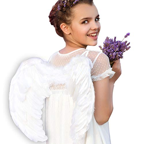 Victoria Secret Angels Costumes Halloween (Angel Wings, Angel Costume Wings, White Feather Wing, Cosplay Accessories Christmas Wings for Adult Women Kids)
