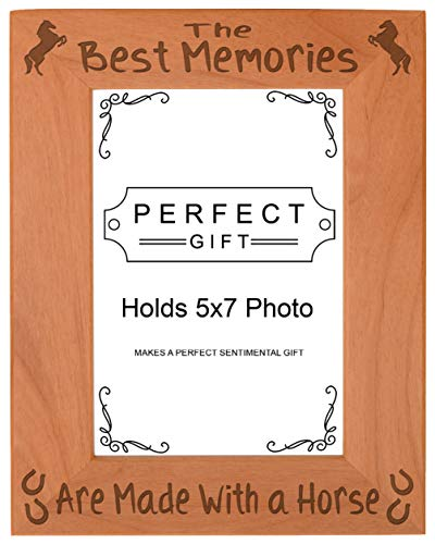 ThisWear Horse Themed Gifts Memories Made with a Horse Quote Frame Wood Engraved 5x7 Portrait Picture Frame
