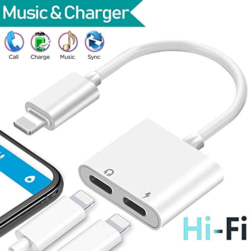Headphone Adapter for iPhone X Adapter AUX Audio Jack Charge Adapter Car Charger [Audio+Charge+Call+Volume Control ] Dual Earphone Cable Converter Compatible for iPhone X/7 Plus /8/8P Support All -