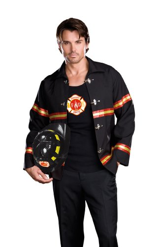 The Heat Movie Halloween Costume (Dreamgirl Men's Smoking Hot Fireman Costume, Black/Red, X-Large)