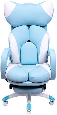 コンピュータチェアホームガールズEスポーツチェアエルゴノミックチェア回転チェアゲームチェアソファチェアアンカーチェア快適な寮の椅子歩くことができますブルー+フットレスト