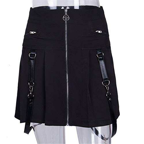 Harajuku Punk Rock Gothic Skirt Women Zipper Stitching Summer Pleated Mini Skirt for Fashion -