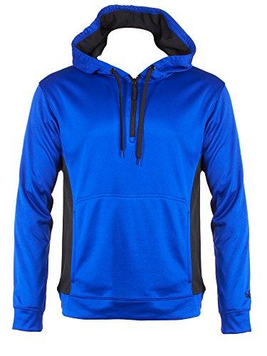 Spalding Mens Quarter Zip Fleece Hoodie with Kangaroo Pockets Royal Blue X Large