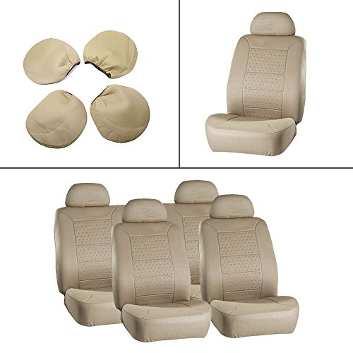 Ram Dakota Van (ECCPP Universal 5MM Padding Soft Car Seat Cover w/Headrest - 100% Breathable Embossed Cloth Stretchy Durable Beige for Most Cars Trucks Vans)