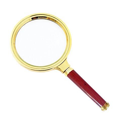 (SDMH magnifying glass, 10X old man reading hand-held magnifying glass, jewelry jade identification, imitation red wood handle, insect hobby observation (Small-80mm))