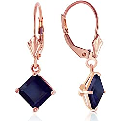 14K Solid Rose Gold Leverback Earrings with Natural Sapphires