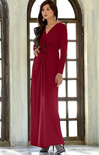 3aaf80ae61876 ... KOH KOH Womens Long Sleeve Semi Formal Fall Winter Flowy Gown Maxi  Dresses