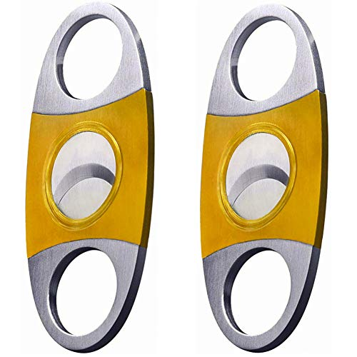 (Cigar Cutter 2 pcs/Pack Stainless Steel Guillotine Cut Double Blade Gold and Silver Exquisite Cigar Clippers Cigar Accessories)