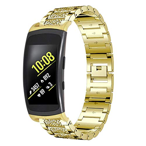 Cathy Clara Metal Chain Style Bracelet Set in Drill Bracelet Smart Watch Band Strap for Samsung Gear Fit 2/ Fit 2Pro