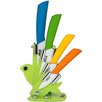 HULLR 6 Piece Ceramic Blade Multi Color Kitchen Knife Set With Acrylic Stand