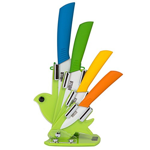 HULLR 6 Piece Ceramic Blade Multi Color Kitchen Knife Set With Acrylic Stand (Block With Knives Set Ceramic)