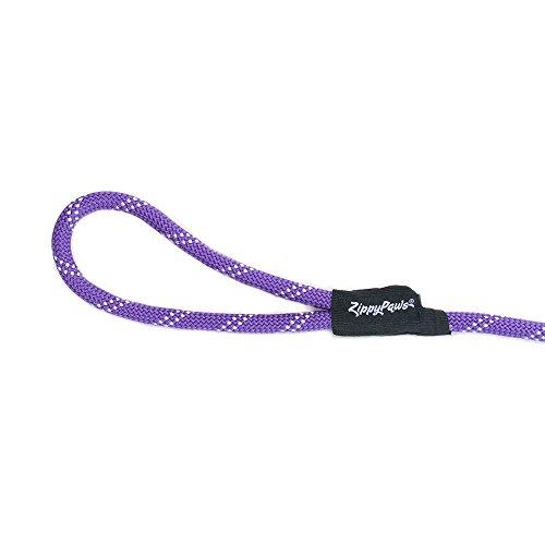 Picture of ZippyPaws Climbers Mountain Climbing Rope Leash - Lightweight 1/2 Inch, 6 Feet (Purple, Lightweight 6 Feet (1/2