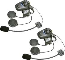 Sena SMH5D-FM-01 Auricular E Intercomunicador Bluetooth, Con Sintonizador De Fm Integrado, Para Scooters Y Motocicletas, Paquete Doble, Con Kit Para Casco Jet