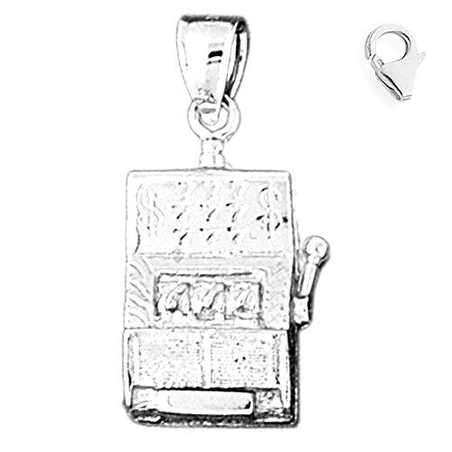 Jewels Obsession Slot Machine Charm | 14K White Gold Slot Machine Charm Pendant - 30mm