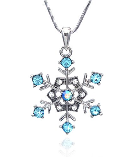 cocojewelry Aqua Snowflake Pendant Necklace Bridesmaid Christmas Holiday Jewelry (Clear (Snowflake Necklace)
