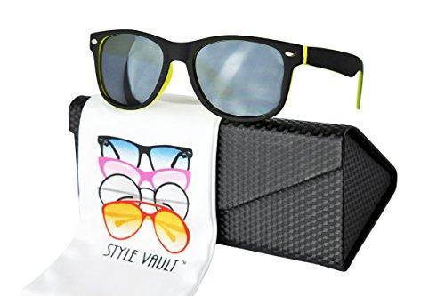 Kd04-EC Toddlers kids (1-6 years Old) Wayfarer 80s childrens Sunglasses (S3246V Black/Neon Yellow, smoked)
