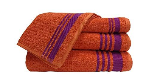 Welhome Home Essential 400 GSM Cotton 2 Bath Towel & 2 Hand Towel Set – Orange