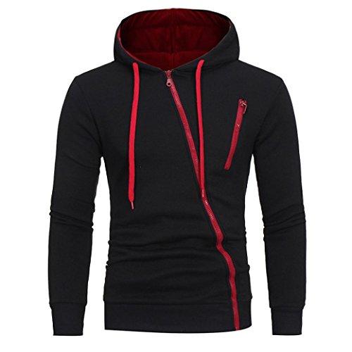 HTHJSCO Men's Eco Zip Hoodie Sweatshirt, Mens' Long Sleeve Hoodie Hooded Sweatshirt Tops Jacket Coat Outwear (Black A, L) by HTHJSCO