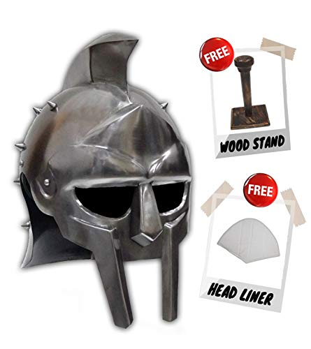 Historical Memories Medieval Gladiator Movie Replica Helmet Warrior Armor Knight Adult Costume Functional (with Spikes),Chrome,Large -