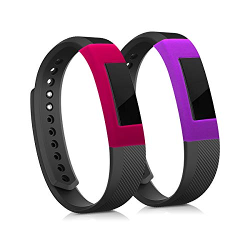 kwmobile Cases for Fitbit Ace/Alta/Alta HR - Set of 2 Silicone Covers (Fitness Tracker Not Included) - Dark Pink/Violet