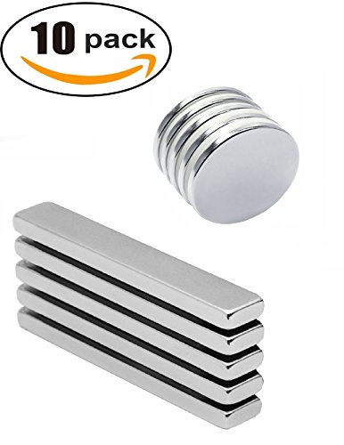 MAGNET DIRECT Neodymium Bar/Disc Combo 10 PACK - Industrial Strength Powerful N52- 33-50% More Thick - Rare Earth Magnets for Multiuse DIY Projects, Tool Storage, Refrigerator, Office, Arts and Crafts (Whiteboard Wall Mount Kit)