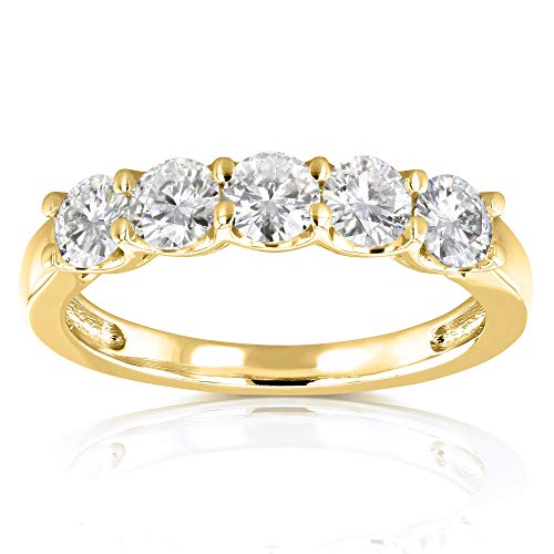 Five Stone 4/5 Carat TGW Round Brilliant Near Colorless Moissanite (HI) Bridal Wedding Band in 14k Yellow Gold - Size 6.5