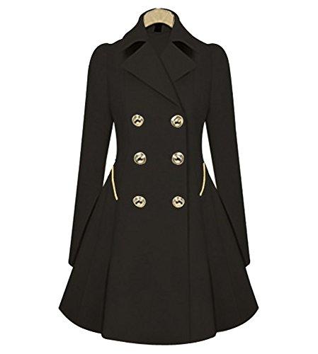 Femmes Vintage 1850s Swing Trench Coat Manches Longues Parka Mi-Longue Veste Manteau Outwear Noir