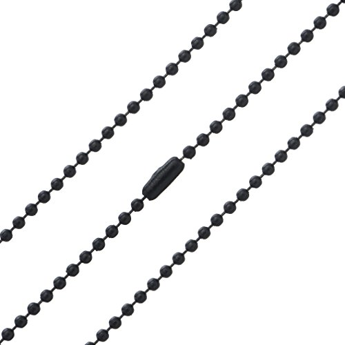 Black Oxide Stainless Steel Ball Chain Necklace 2 Pack - 2.4mm, 30