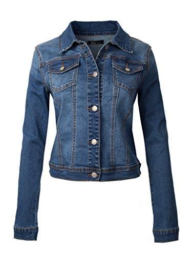Design by Olivia Women's Classic Casual Vintage Blue Stone Washed Denim Jean Jacket Medium Denim M