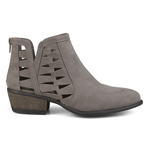 - Brinley Co. Womens Side Slit Cut-Out Faux Suede Booties Grey, 8.5 Regular US